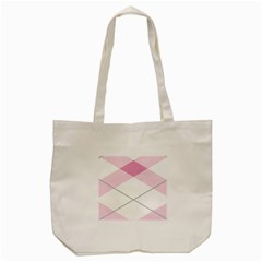 Tablecloth Stripes Diamonds Pink Tote Bag (cream) by Nexatart
