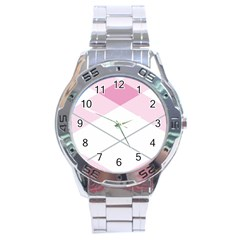 Tablecloth Stripes Diamonds Pink Stainless Steel Analogue Watch by Nexatart