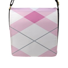 Tablecloth Stripes Diamonds Pink Flap Messenger Bag (l)  by Nexatart