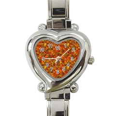 Gold Mosaic Background Pattern Heart Italian Charm Watch by Nexatart