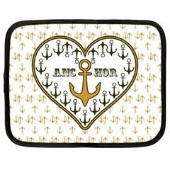 Anchor Heart Netbook Case (xl)  by Nexatart