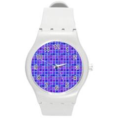 Background Mosaic Purple Blue Round Plastic Sport Watch (m) by Nexatart