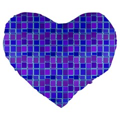 Background Mosaic Purple Blue Large 19  Premium Heart Shape Cushions by Nexatart