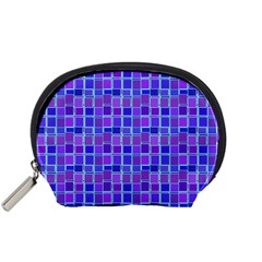 Background Mosaic Purple Blue Accessory Pouches (small)  by Nexatart
