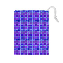 Background Mosaic Purple Blue Drawstring Pouches (large)  by Nexatart