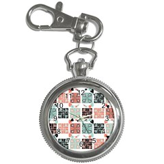 Mint Black Coral Heart Paisley Key Chain Watches by Nexatart