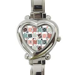 Mint Black Coral Heart Paisley Heart Italian Charm Watch by Nexatart