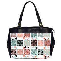 Mint Black Coral Heart Paisley Office Handbags (2 Sides)  by Nexatart