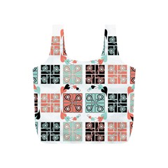 Mint Black Coral Heart Paisley Full Print Recycle Bags (s)  by Nexatart