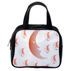 Moon Moonface Pattern Outlines Classic Handbags (one Side) by Nexatart