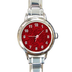 Christmas Background Red Star Round Italian Charm Watch by Nexatart