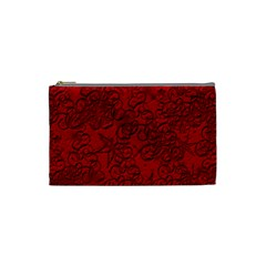 Christmas Background Red Star Cosmetic Bag (small)  by Nexatart