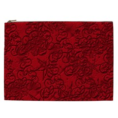 Christmas Background Red Star Cosmetic Bag (xxl)  by Nexatart