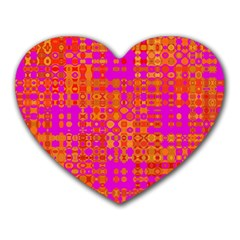 Pink Orange Bright Abstract Heart Mousepads by Nexatart