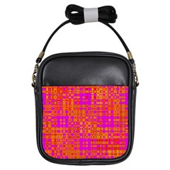 Pink Orange Bright Abstract Girls Sling Bags by Nexatart
