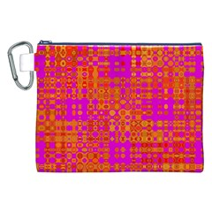 Pink Orange Bright Abstract Canvas Cosmetic Bag (xxl) by Nexatart