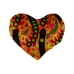 Abstract Background Digital Green Standard 16  Premium Flano Heart Shape Cushions by Nexatart