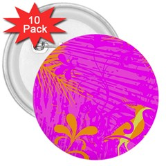 Spring Tropical Floral Palm Bird 3  Buttons (10 Pack)  by Nexatart