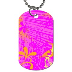 Spring Tropical Floral Palm Bird Dog Tag (two Sides) by Nexatart
