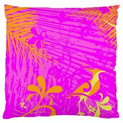 Spring Tropical Floral Palm Bird Large Flano Cushion Case (two Sides) by Nexatart