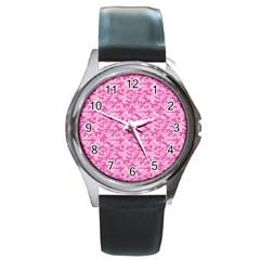 Shocking Pink Camouflage Pattern Round Metal Watch by tarastyle