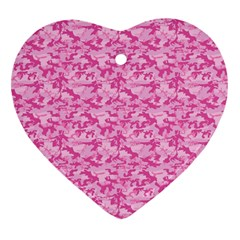 Shocking Pink Camouflage Pattern Heart Ornament (two Sides) by tarastyle