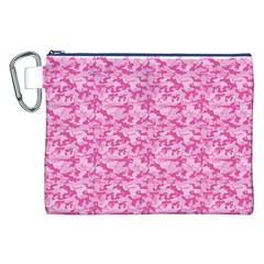 Shocking Pink Camouflage Pattern Canvas Cosmetic Bag (xxl) by tarastyle