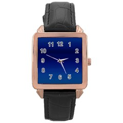 Blue Dot Rose Gold Leather Watch  by PhotoNOLA