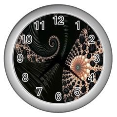 Fractal Black Pearl Abstract Art Wall Clocks (silver)  by Nexatart