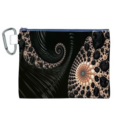 Fractal Black Pearl Abstract Art Canvas Cosmetic Bag (xl)