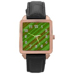 Stripes Course Texture Background Rose Gold Leather Watch  by Nexatart