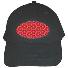 Pattern Abstract Floral Bright Black Cap by Nexatart