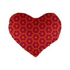 Pattern Abstract Floral Bright Standard 16  Premium Flano Heart Shape Cushions by Nexatart