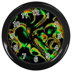 Glowing Fractal A Wall Clocks (Black)