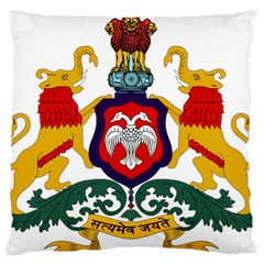 State Seal Of Karnataka Large Flano Cushion Case (two Sides) by abbeyz71