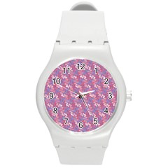 Pattern Abstract Squiggles Gliftex Round Plastic Sport Watch (M)
