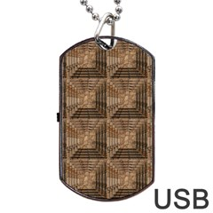Collage Stone Wall Texture Dog Tag Usb Flash (two Sides) by Nexatart