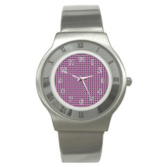 Pattern Grid Background Stainless Steel Watch