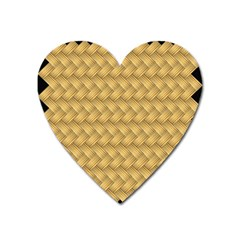 Wood Illustrator Yellow Brown Heart Magnet by Nexatart