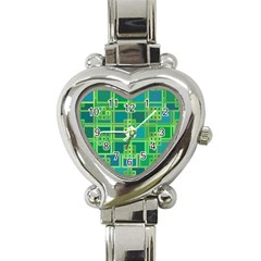 Green Abstract Geometric Heart Italian Charm Watch by Nexatart