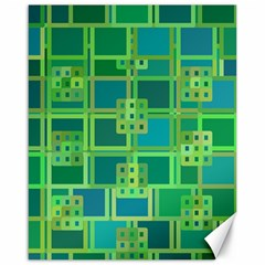 Green Abstract Geometric Canvas 16  X 20   by Nexatart
