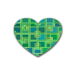 Green Abstract Geometric Rubber Coaster (heart)  by Nexatart