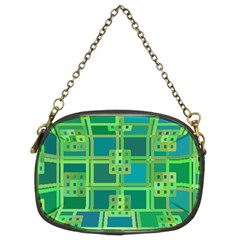 Green Abstract Geometric Chain Purses (two Sides)  by Nexatart