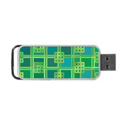 Green Abstract Geometric Portable Usb Flash (two Sides) by Nexatart