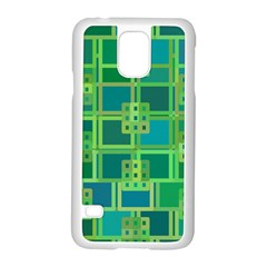 Green Abstract Geometric Samsung Galaxy S5 Case (white) by Nexatart