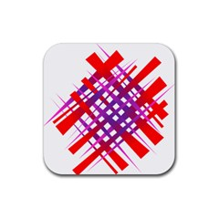 Chaos Bright Gradient Red Blue Rubber Square Coaster (4 Pack)  by Nexatart