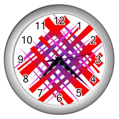 Chaos Bright Gradient Red Blue Wall Clocks (silver)  by Nexatart