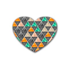 Abstract Geometric Triangle Shape Rubber Coaster (heart)  by Nexatart