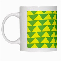 Arrow Triangle Green Yellow White Mugs by Mariart