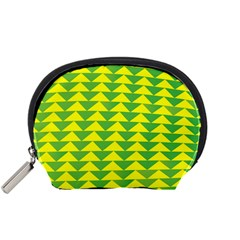 Arrow Triangle Green Yellow Accessory Pouches (small)  by Mariart